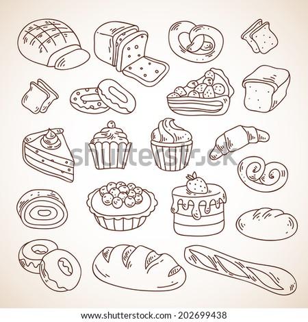 vector hand drawn bakery cakes