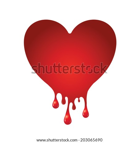 vector of red heart bleeding