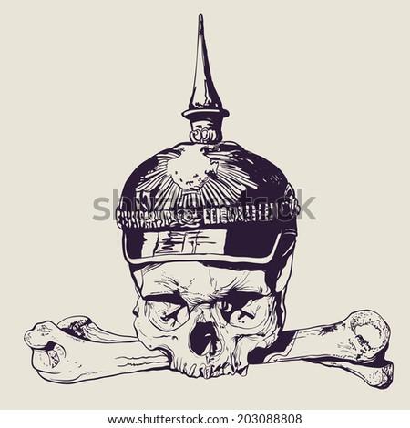 skull in war helmet and