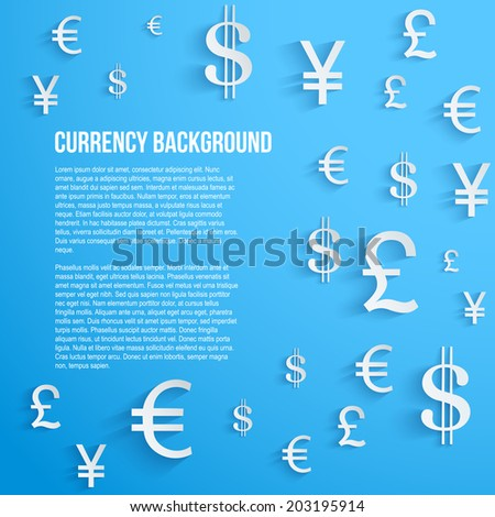 currency symbol on bright blue
