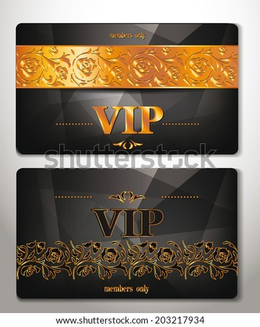 elegant vip cards with gold