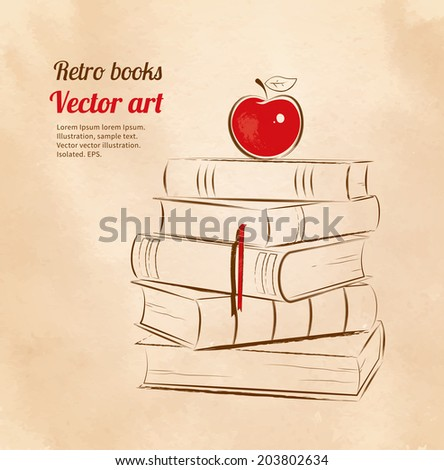 apple on books vintage art