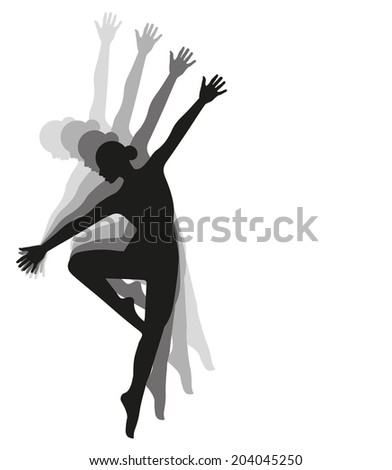 vector silhouette dancing girl