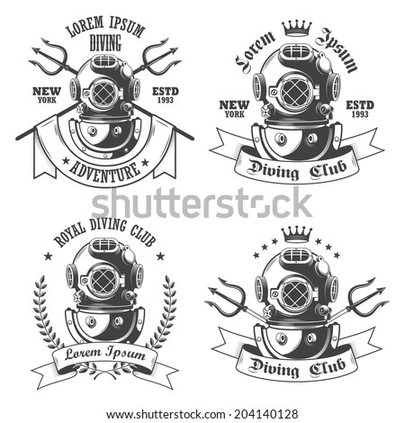 set of diving labels  emblems