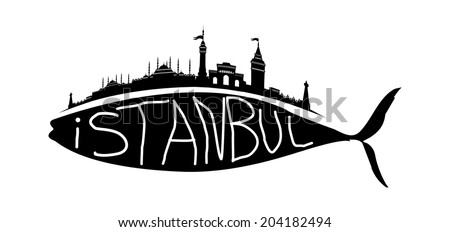 istanbul city and fish vector