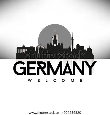 germany  skyline design  black