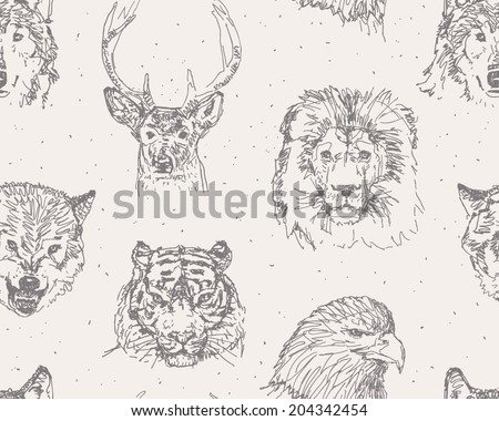wild animals heads sketchy