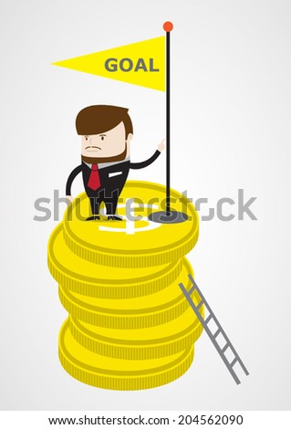 businessman climbing to the