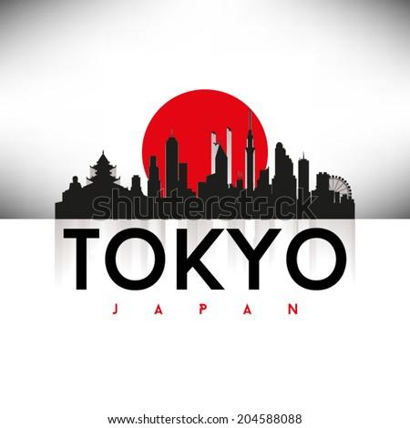tokyo  japan skyline silhouette