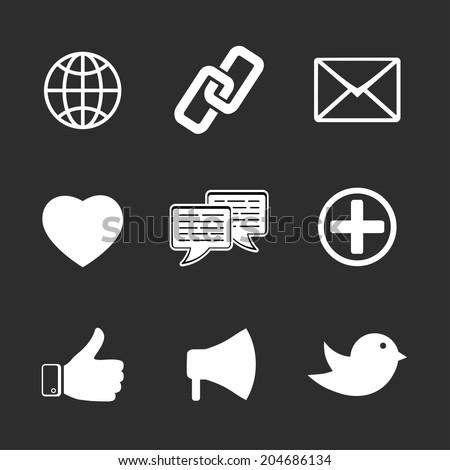 set of black and white social