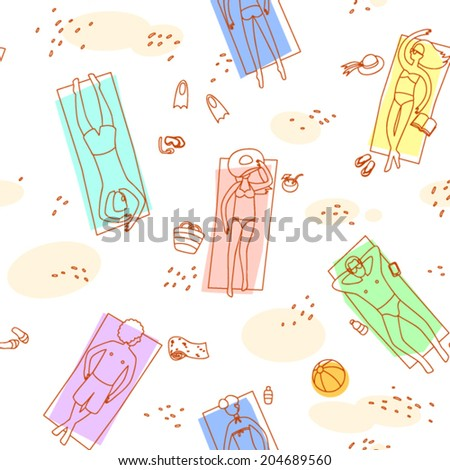 people sunbathing vector