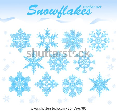 snowflakes  set collection of