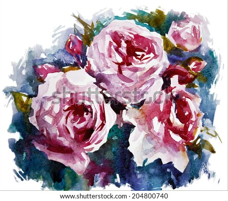watercolor roses a bouquet of