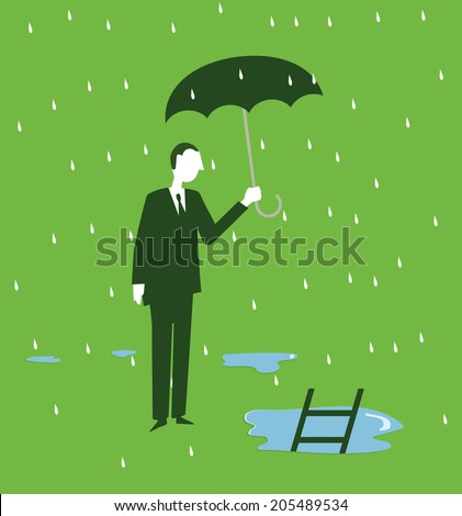 a standing man in the rain