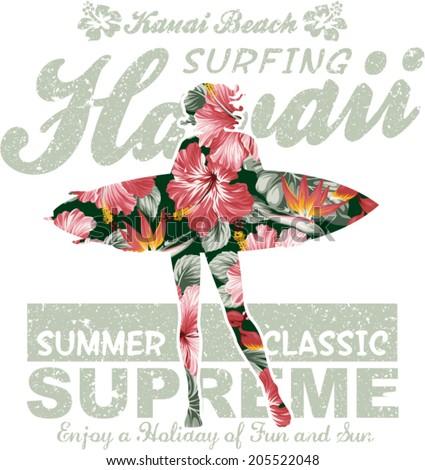 floral hawaii surfing  vector