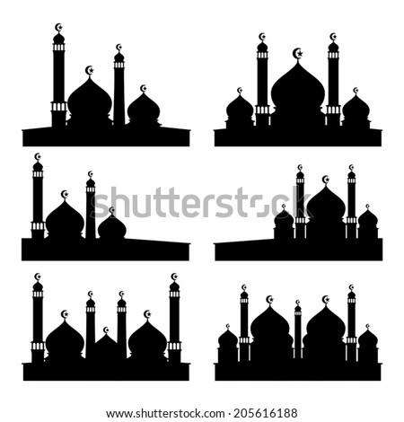 mosque silhouette vector set