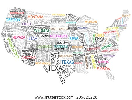 vector usa map made of words