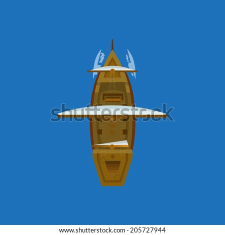 sailing ship top view vector