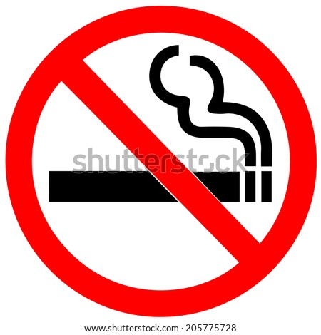 no smoking sign on white