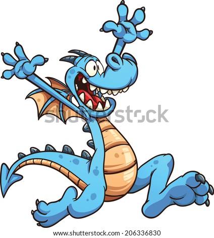 happy cartoon dragon vector