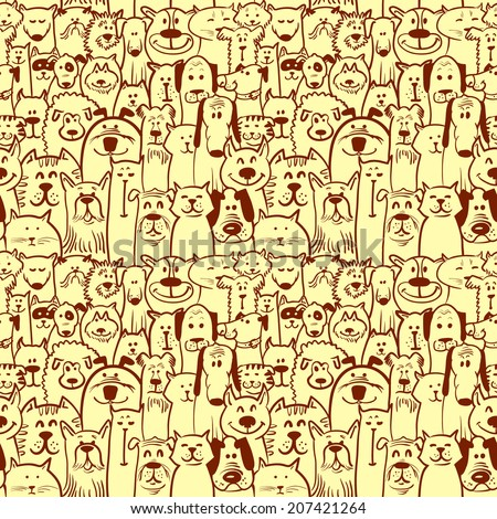 doodle dogs and cats seamless