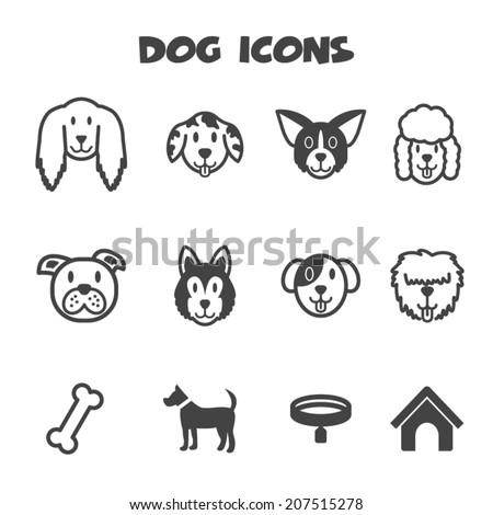 dog icons  mono vector symbols