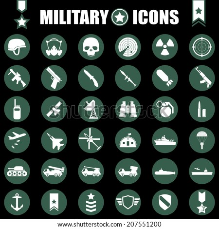military icons set