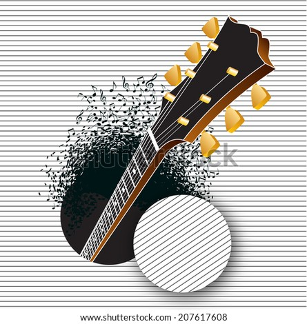 a guitar pops out of a hole as