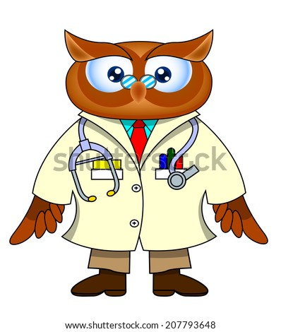 owl doctor cute funny cartoon