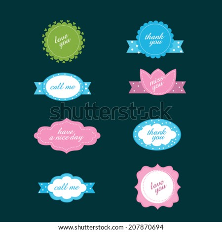 vector set of stickers