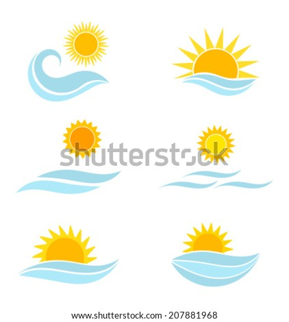 sun and sea icons summer