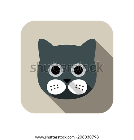 cat face flat icon set