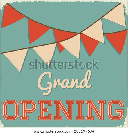 retro grand opening sign with