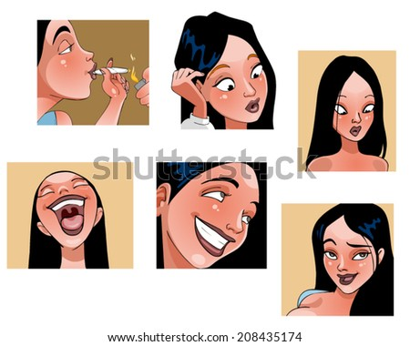 cartoon girl face brunette in