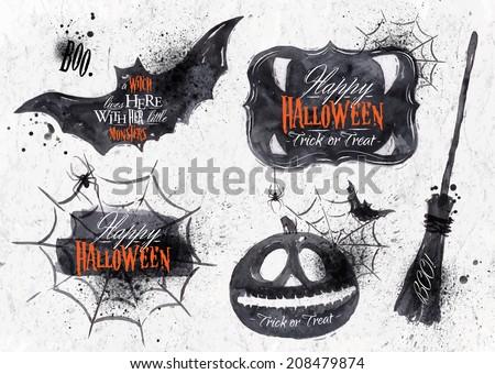 halloween set  drawn halloween