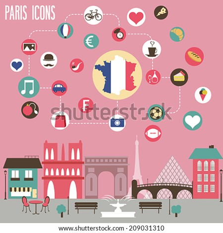 paris icons set vector