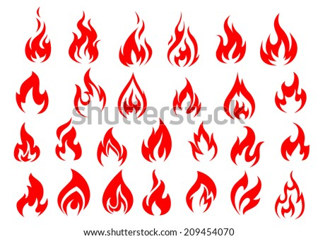 red fire flat icons and
