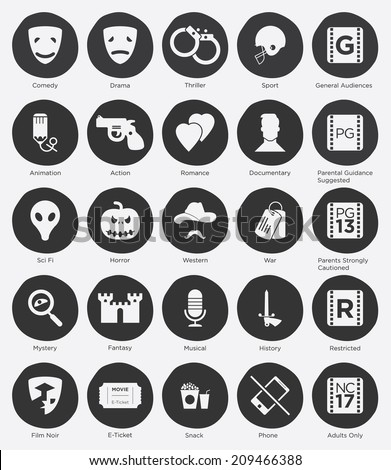 set of film genres icon and