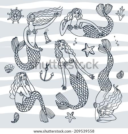 doodle set of vector mermaids