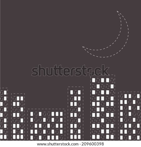 silhouette of the night city