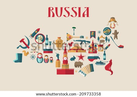 russia  vector icons