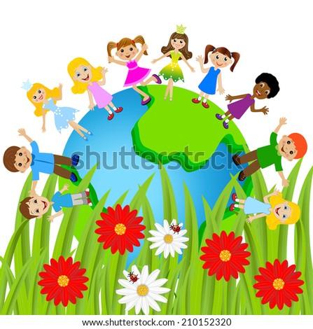 children stand circumplanetary