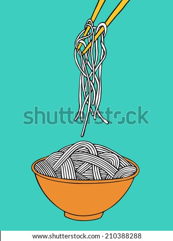 cartoon noodles in the bowl