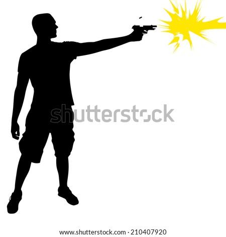 man shooting gun  vector