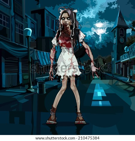 bloody girl in halloween night