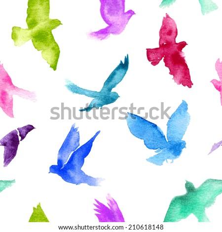 watercolor birds seamless