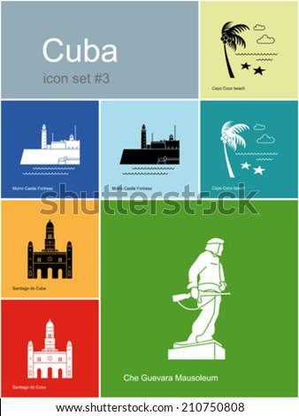 landmarks of cuba set of color