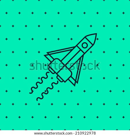 rocket in space flat design