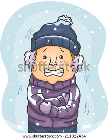 illustration of a man in winter