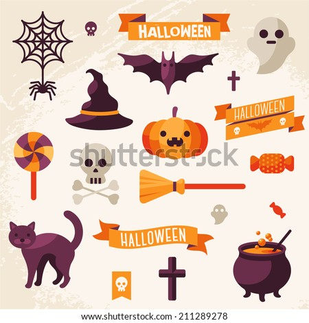 set of halloween ribbons and